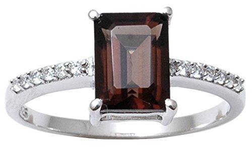 Banithani 925 Sterling Silver Elegant Smoky Topaz Stone Ring Indian Women Fashion Jewelry