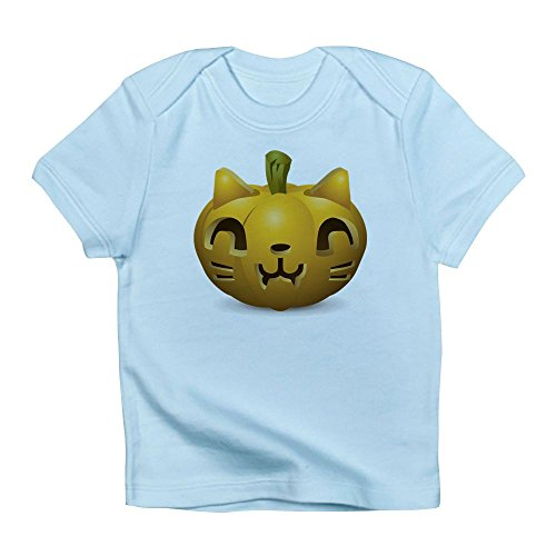Truly Teague Infant T-Shirt Kitty Cat Halloween Jack-O-Lantern - Sky Blue, 12 To 18 Months]()