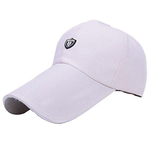 (Unisex Summer Long Brim Golf Cap Adjustable Outdoor Sun Hat Large Visor Anti-UV White2/One Size)