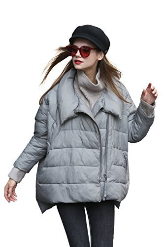Winter Coat Women Anorak Jacket Gray Puffer Down Coat Thick Snow Bubble Coat Quilted Fall Cute Coat Warm Short Casual Coat Trendy Designer Fashion Coat Padded Asymmetrical Coat Oversized Cool Coat XL