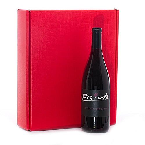 30ea - 11x3-1/2x13-3/8 Red Tab Lock Presentation Wine Box   Width: 3 1/2''
