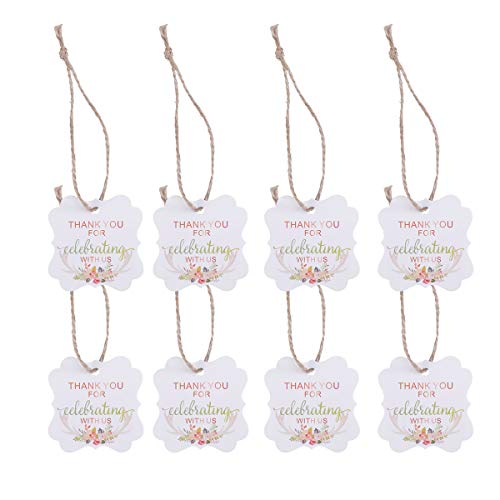 Amosfun 50pcs Wedding Favor Gift Tags Thank You Tags Thank You for Celebrating with Us Pattern with Hemp Rope for Wedding Party Favor (Antler Printing) -