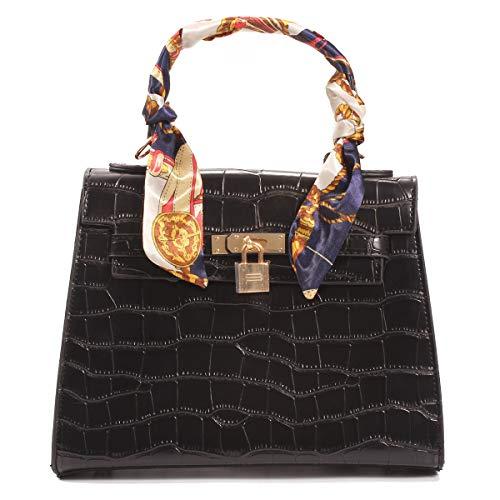Poxas Crocodile Pattern Women Scarves Handbag PU Leather handbag Diagonal Shoulder Diagonal Square Bag (Black)