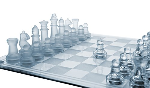 Gamie 12 Inch Glass Chess Set, Elegant Design - Durable Build - Fully Functional - 32 Frosted and Clear Pieces - Felted Bottoms - Easy to Carry - Reassuringly Stable