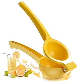 Lemon Squeezer, Manual Citrus Press Juicer, Metal Lemon Lime Squeezer,Manual Lemon Lime Juicer,Squeeze Lemon Lime Orange and Extract All Fruit Juice - Easily Clean Aluminum Metal yellow