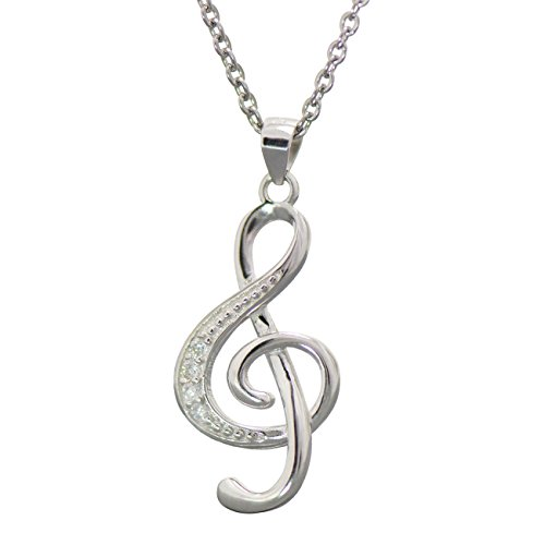 (Paialco 925 Sterling Silver Music Note G Treble Clef Charm Pendant Necklace)