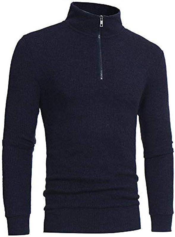 HX fashion sweter z dzianiny męski prosty dziergany sweter jesień zima długi rękaw sweter wygodny rozmiar normalny worek z dzianiny sweter z zamkiem błyskawicznym ubranie: Odzież