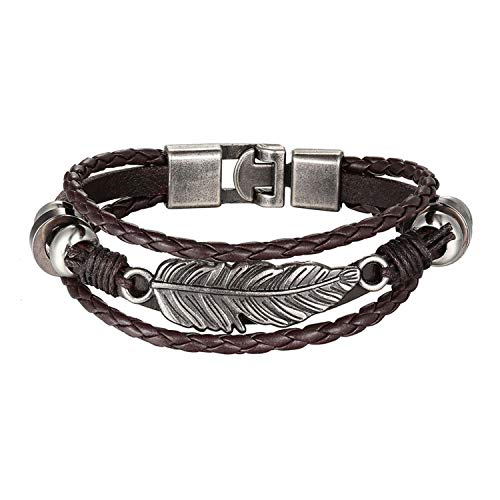 Bracelets for Women Palmar Bracelet Men Chain Vintage Multilayer Punk Leather Bracelet Jewelry,021 B,20cm