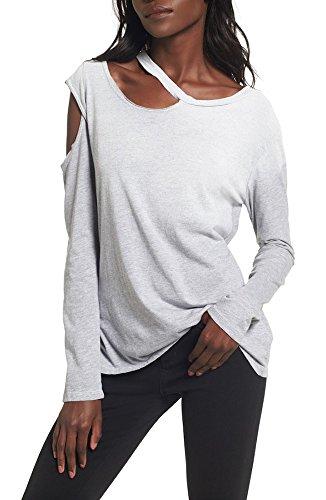 Lna Crewneck (LNA Hamilton Asymmetrical Long Sleeve Top (SM, Heather Grey))