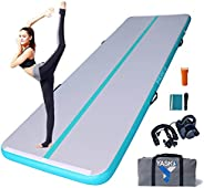 YASKA 10/13ft Inflatable Gymnastics Air Track Tumbling Mat 4 inches Thickness Airtrack Mats with Electric Pump