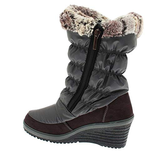 New Women's Fur Snow Boot Wedge Grey Lined Italia rz4qx51wr