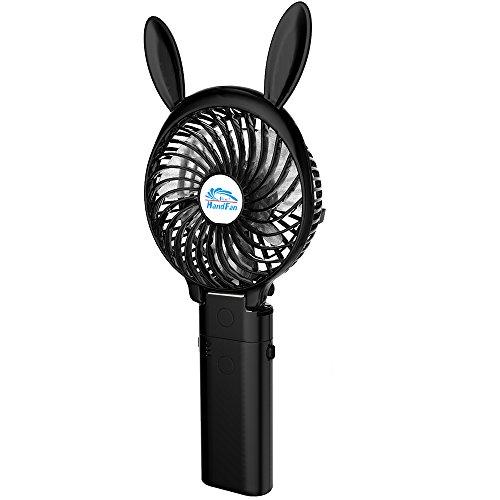 HandFan Portable Handheld Fan, Mini Hand Fan/Small Desk Fan Folding Change 4-16 Hours Working Time Personal Fan Rechargeable Battery/USB Operated Electric Fan Handle is 4000mA Power Bank(Cute Black)