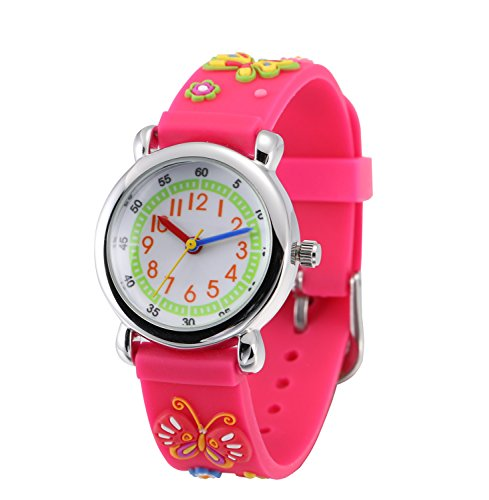 (Children Kids Toddler Watches Time Teacher Watches, Cartoon Character 3D Silicone Band Watches (Pink - Butterfly))