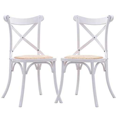Costway Cross Back Dining Chairs Set of 2 Antique Style Solid Wooden Frame Side Chairs with Rattan Seat (White) (Cross Back Kitchen Chairs)