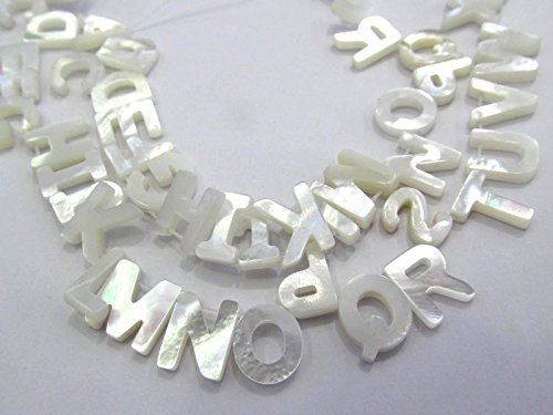 - 26 pcs Letter MOP Shell Cabochon White Mother of Pearl Shell Jewelry Cabochon Shell Beads 12-20mm --drilled