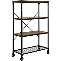 HOMES: Inside + Out Caridad Industrial Two Tone Bookshelf, Large, Medium Oak