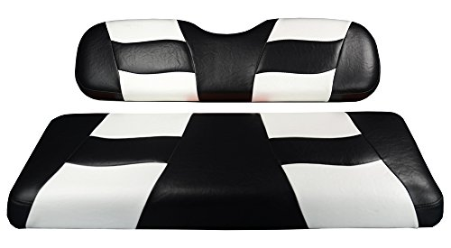 Madjax-RIPTIDE-2004-Up-BlackWhite-Two-Tone-Front-Seat-Covers-for-Club-Car-Precedent-Golf-Carts