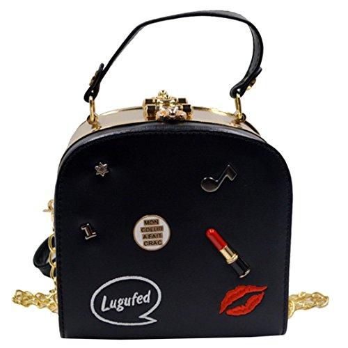 Monique Women Lip Lipstick Badge Print PU Leather Handbag Box Gym Evening Party Chain Cross-body Bag Shoulder Purse Black (Purse Box)