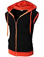 H2H Mens Active Casual Color Blocks Sleeveless Hoodie Zip-up