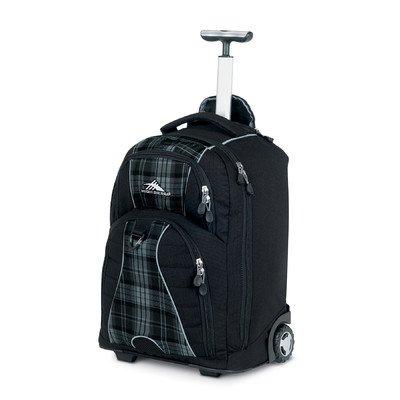 High Sierra Freewheel Wheeled Backpack, Grey Plaid/Black