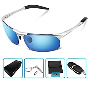GUKE 8177 Men's Sports Style Polarized Sunglasses for Driving Fishing Golf Glasses (silver, clear)