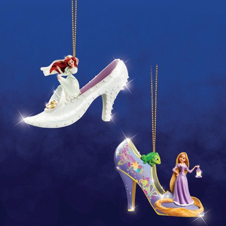 Disney's Once Upon A Slipper Ariel And Rapunzel Figurine Shoe Ornaments Set of 2 (Homemade Christmas Costume Ideas Men)