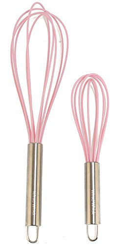 Wired Whisk Silicone Whisk Set of 2 - Stainless Steel & Silicone Kitchen Utensils for Blending, Whisking, Beating & Stirring - (12-inch, & 8.5-inch (Two Pink)