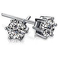 Fabula Jewellery Pair of Silver Color Round Cubic Zirconia Ear Stud Earrings For Men & Boys (EYC15R5)