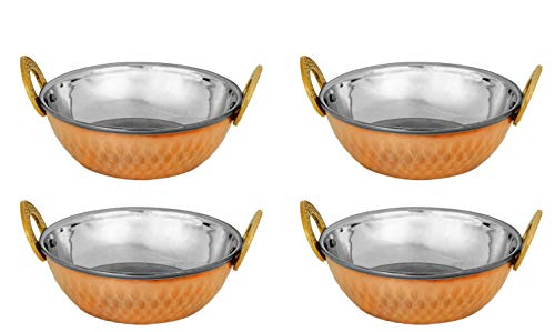 Zap Impex Indian Serving Bowl Copper Stainless Steel Hammered Karahi Indian Dishes Serveware for Vegetable and Curries (13 cm) Set of 4