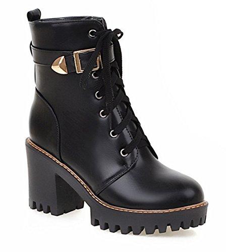 YE Damen Chunky Heels Stiefeletten mit Plateau Bequeme Blockabsatz Schnürung und Schnallen 8cm Absatz Herbst Winterschuhe Schwarz