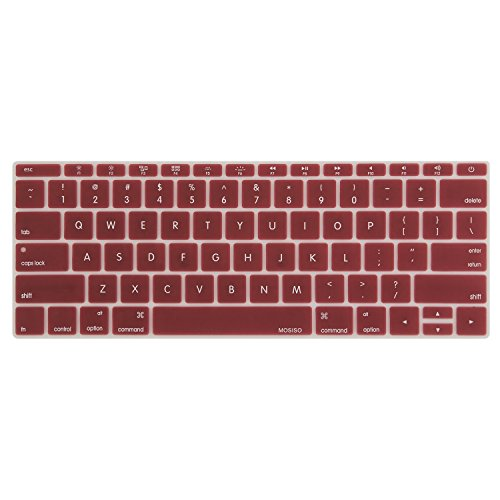 MOSISO Silicone Keyboard Cover Compatible MacBook Pro 13 Inch 2017 & 2016 Release A1708 Without Touch Bar, New MacBook 12 Inch A1534 Protective Skin, Wine Red