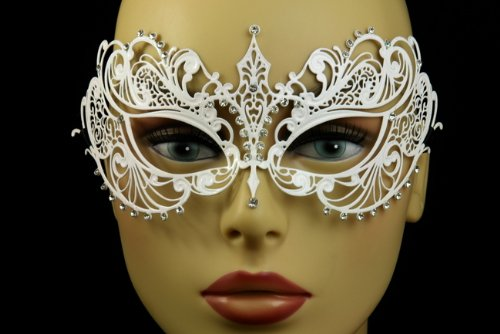 Venetian White Finish Mask with Classy Mardi Gras Decor -