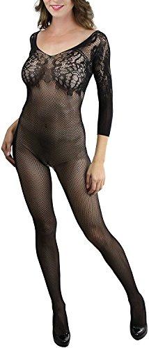 Yisqzjzj trendy Women's Fishnet Quarter Sleeve Bodystocking Floral Bodice - BLACK BlackOne Size