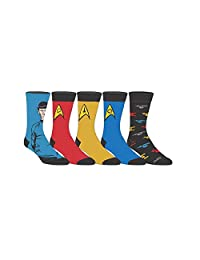 Star Trek Licensed Uniform Adult Crew Socks (Various Designs) (Star Trek 5-Pack)