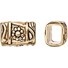 Aztec Style Licorice Slider Beads Fits 10x8mm licorice Leather - Antique Gold Finished