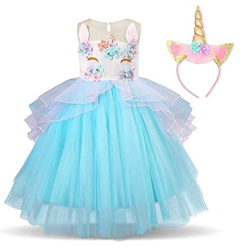 TTYAOVO Girl Flower Unicorn Costume Lace Tulle Princess Pageant Party Dress with Unicorn Headband Size 7-8 Years Blue