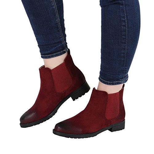 Stiefelparadies - Botas Chelsea Mujer Rojo