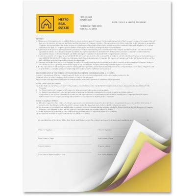 Xerox Premium Digital Carbonless Paper 4-Part Straight Collated White/Yellow/Pink/Gold, 8.5