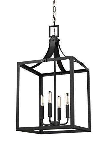 - Sea Gull Lighting 5340604-12 Labette Pendant, Large Four Light, Black Finish