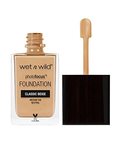 wet n wild Photo Focus Foundation, Classic Beige, 1 Ounce (The Best Drugstore Foundation 2019)