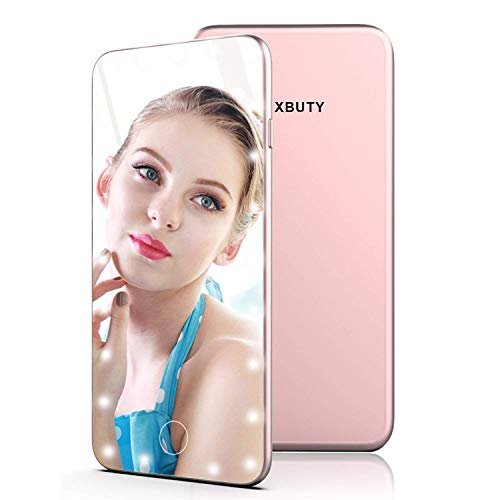 XBUTY Makeup Mirror with Lights Hollywood Style Lighted Vanity Mirror 5.5 Inch Small Hand Mirror Portable Cosmetic Mirror Dimmable Travel Handheld LED Mirror with USB Charging (Rose gold) by XBUTY