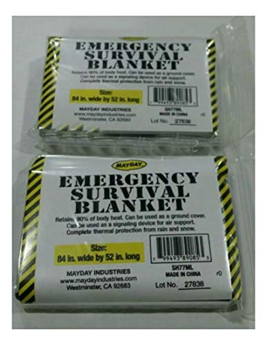 2 MayDay Emergency Survival Blanket,Disaster, Bug-Out-Bag,First Aid,Camping by Unknown