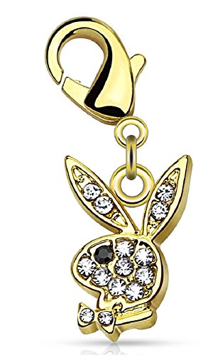 CZ Paved Playboy Bunny with Lobster Claw for Belly rings, Bracelets and More -