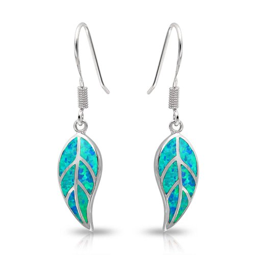 Blue Created Opal Inlay Nature Leaf Dangle Drop Earrings For Women 925 Sterling Silver Fish Hook