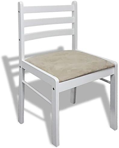 binzhoueushopping chaises de Salle à Manger Blanche, 2unités carrées en Bois, 44x 45x 81cm, pour Salle de séjour