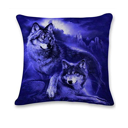 Pgojuni Cute Wolf Tower Flax Pillowcase Decoration Throw Pillow Cover Cushion Cover Pillow Case for Sofa/Couch 1pc (B) by Pgojuni_Pillowcases (Image #1)