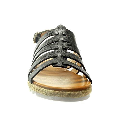 Angkorly - Scarpe da Moda sandali Espadrillas gladiatore donna tanga multi-briglia Tacco zeppa 2 CM - Nero