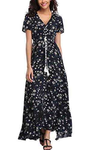 Long Summer Floral Maxi Dress Women Flower Print Casual Split Beach Dress Elegant Cotton Vintage,7,XL (Lil Luxuries Whirlpool)