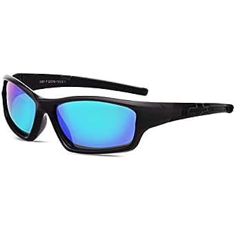 SojoS Kids Rubber Flexible Polarized Children's Sunglasses SK208 with Black Frame/Green Lens