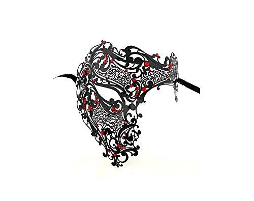 [Men Devil Skull Laser Cut Venetian Masquerade Mask Event Party Ball Mardi Gars by Yacanna (Half, Black, Red Crystals)] (Devil Half Mask)